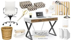 Rustic Contemporary. Office. Gold Accents. Desk. White Chair. Office Accessories. Office Ideas. Desk Lamp. Decorative Boxes. Kate Spade Home.