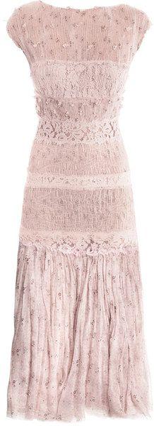 nina ricci   Floralprinted Chiffon and Lace Dress