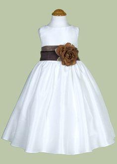 White flower girl dress with organza sash by Justuniqueboutique, $41.00