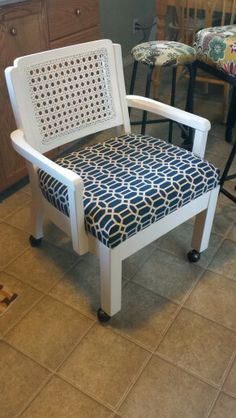 Refinished and reupholstered antique dining chairs