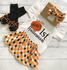 First Halloween Outfit Baby Girl, 1st Halloween Skirt Set, Personalized Halloween Shirt, Niece Aunt Gift