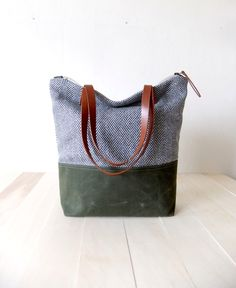 bc81b97df0 Zippered Tote Bag - Herringbone Tweed - Waxed Canvas Base in Olive Green -  Leather Handles in Brown - Natural Lining - Shoulder Bag