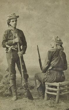 Two young members of the people's militia, from the Trabzon area, Black Sea, Traditional Outfits, History, Clothing, Painting, Outfits, Historia, Painting Art, Paintings
