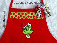 GRINCH Santa Red Apron CUSTOM Embroidered by DesignsbySugarbear, $35.99 on ETSY