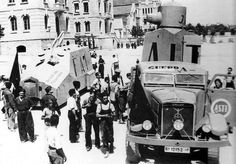 CNT tiznaos - ad hoc armoured cars hastily produced in factories to give militias some kind of armoured support in the opening phases of the war - in Barcelona, July, 1936.
