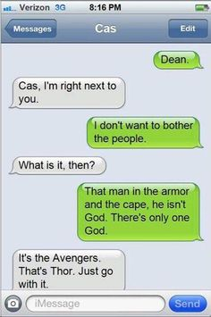 Leave it to Cas to over analyze the Avengers