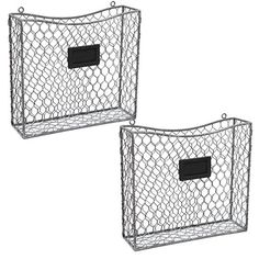 Amazon.com: MyGift Metal Wire Wall Mounted Magazine, File & Mail Holder Basket w/ Chalkboard Label, Set of 2, Gray: Home & Kitchen