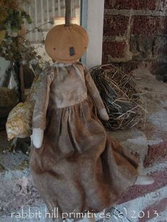 Orange Pumpkin Doll 2 #344 ~ rabbit hill primitives (c)