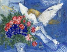 Shop for chagall art from the world's greatest living artists. All chagall artwork ships within 48 hours and includes a money-back guarantee. Choose your favorite chagall designs and purchase them as wall art, home decor, phone cases, tote bags, and more! Marc Chagall, Chagall Paintings, Oil Paintings, Angel Paintings, Blue Angels, Jewish Art, Henri Matisse, French Artists, Pablo Picasso