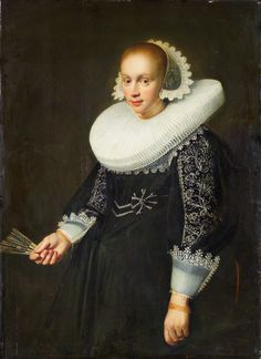 """""""Portrait of a Young Woman with Fan"""" by Jan Daemen Cool, 1636"""