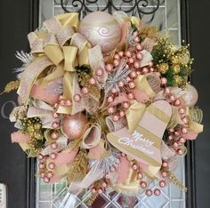 share your favourite Christmas Wreath Rose Gold Christmas Decor Holiday Wreath images in to your beloved Firend and Family. Rose Gold Christmas Decorations, Pink Christmas Tree, Shabby Chic Christmas, Christmas Crafts, Christmas Room, Black Christmas, Etsy Christmas, Christmas Holidays, Gold Wreath