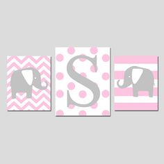 Baby Girl Nursery Decor Art Elephant Initial Trio - Set of Three Prints - and - Chevron, Baby Girl Nursery Decor, Baby Decor, Nursery Letters, Nursery Wall Art, Elephant Nursery Art, Pink And Gray Nursery, Crafts With Pictures, Cool Baby Stuff, Dorm Decorations