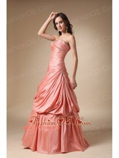 Watermelon Red A-line Strapless Floor-length Beading and Pick-ups Taffeta Prom Dress- $143.16  http://www.fashionos.com  http://www.facebook.com/quinceaneradress.fashionos.us  http://www.youtube.com/user/fashionoscom?feature=mhee    The multi-tiered skirt features ruching for added detail, but still maintains its vintage A-line style. A lace up back finishes the look. Such a feminine dress for any outing!