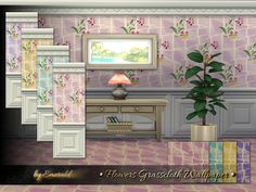 The Sims Resource: Flowers Grasscloth Wallpaper by emerald • Sims 4 Downloads