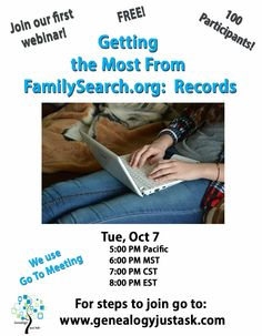 Mark your calendar for this FREE webinar that is sure to get you pulling up records on FamilySearch.org. See the details here: http://www.genealogyjustask.com/ ‪#‎genealogy‬ ‪#‎genealogyjustask‬