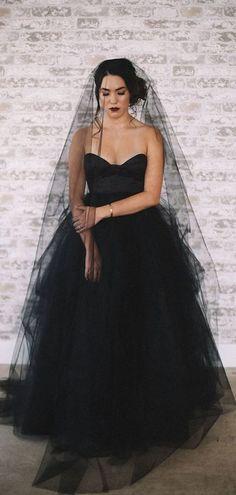 Sweetheart Long A-line Black Tulle Wedding Dresses 00bb1483b99d