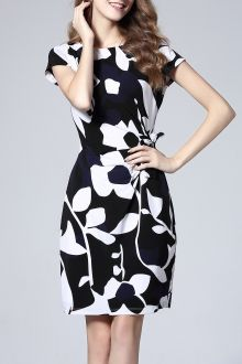 Floral Knee Length Bodycon Dress