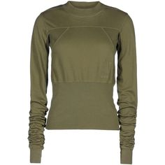 Drkshdw By Rick Owens Long Sleeve T-Shirt (6.385 RUB) ❤ liked on Polyvore featuring tops, sweaters, jumper, shirts, military green, cotton sweaters, jersey shirt, long-sleeve shirt, olive green shirt and shirt sweater
