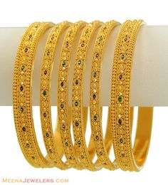 Indian MeenaKari Bangles Set - - Gold Bangles (set of with intricate filigree designs , fine meenakari designs and precious r Bracelets Design, Gold Bangles Design, Gold Jewellery Design, Designer Bangles, Designer Jewellery, The Bangles, Indian Bangles, Silver Bracelets, Braided Bracelets