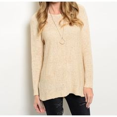 "Light Tan Lounge Knit Sweater So soft and perfect to dress up or lounge. This light tan sweater is perfect for the season. Fabric Content: 58.2% ACRYLIC 41.8% NYLON.  Size Scale: S/M which is for sizes 1-7 and M/L which is for sizes 8-12 approximate L: 31"" Sweaters Crew & Scoop Necks"