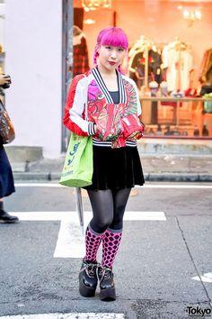 Adidas Dragon Jacket, Pink Hair, Kanji Bag & YRU Platforms in Harajuku (Tokyo Fashion, 2015)