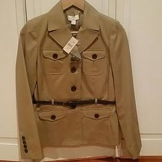 New Ann Taylor Khaki blazer with belt Khaki color blazer- petite from Ann Taylor Loft. Tags attached with extra buttons. Belt around waist for a flattering look. Beautiful! Ann Taylor Loft Jackets & Coats Blazers