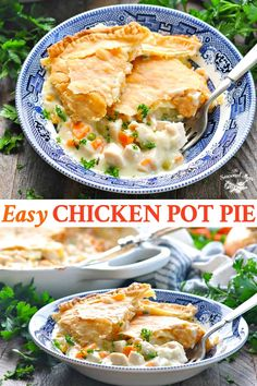 This Old Fashioned Easy Chicken Pot Pie Recipe Is The Perfect Cozy Dinner For A Chilly Day Chicken And Vegetables Are Tossed In A Creamy Sauce And Finished With A Buttery, Flakey Pie Crust For A Satisfying Meal In One Dish Individual Chicken Pot Pies, Chicken Pot Pie Filling, Chicken Pot Pie Sauce Recipe, Quick Chicken Pot Pie Recipe, Chicken Casserole, Casserole Recipes, Hamburger Casserole, Sauce Crémeuse, Le Diner