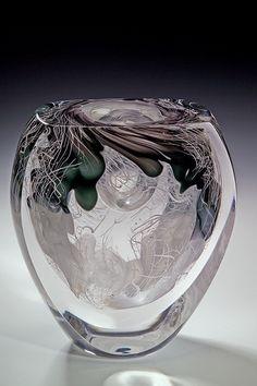 Jon Goldberg Art Glass Winter Ellipsoid