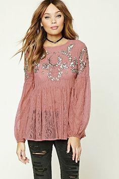 ef2713cd43b546 Sequined Sheer Lace Top Fancy Tops, Sheer Lace Top, Floral Lace, Floral Tops