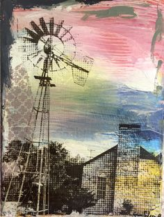 "Original contemporary art ""Saddletree Ranch"" by Austin artist Karen Salem."