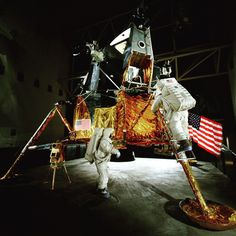 "July 20, 1969:  airandspacemuseum#Apollo11 Lunar Module (LM) ""Eagle"" landed on the Moon carrying astronauts #NeilArmstrong and #BuzzAldrin. This LM-2 was modified to appear like ""Eagle."""