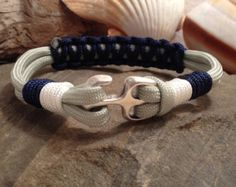 Nautical Sailing Bracelet / Rope Bracelet / Beach / Surfer Paracord Bracelet with Anchor Clasp, Whipped Ends and Cobra Center Stitch