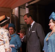 July 1966 - At an appearance at Bournemouth Town Hall alongside Prince Philip, the Queen's new brooch is pinned to a cornflower blue coat.