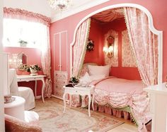 one of my very many dream rooms as a a little girl <--- hah! It's practically a dream room of mine NOW Dream Rooms, Dream Bedroom, Girls Bedroom, Bedroom Decor, Bedroom Ideas, Bedroom Nook, Fantasy Bedroom, Pink Bedrooms, Small Bedrooms