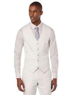 Slim Fit Solid Slub Linen Suit Vest