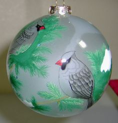 Inside Art Ornament Reverse Painted Glass Birds Snow Tree Branches Includes Box #ChaseInsideArt #Nature