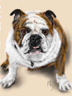 Bull Dog Digital Image pet portrait dog art by LITDigitalPaintings, $5.00