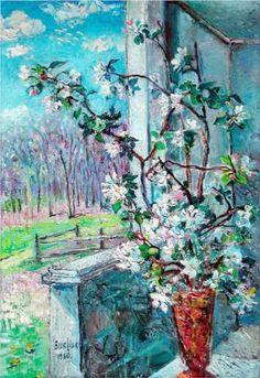 David Burliuk (1882 1967) | Post-Impressionism | Blossoming branch in a vase - 1960