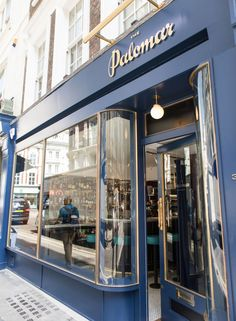 Inspired by the golden age of travel, the branding for The Palomar restaurant conjures romantic and nostalgic feelings of bygone days, of somewhere in the eastern Mediterranean. Showroom Interior Design, Boutique Interior, Restaurant Interior Design, Retail Facade, Shop Facade, Pharmacy Design, Retail Design, Shop Front Design, Store Design