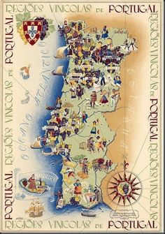 Buy online, view images and see past prices for Régions Vinicoles Portugal vers Invaluable is the world's largest marketplace for art, antiques, and collectibles. Spain And Portugal, Portugal Travel, Vintage Maps, Vintage Travel Posters, Wein Poster, Map Art, Illustration, Artwork, Portuguese Empire