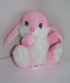 """Dan Dee Easter Bunny Rabbit Pink and White Plush. This Soft Toy from Walmart is Hoppy Hopster and is about 7"""" #DanDee #Easter"""