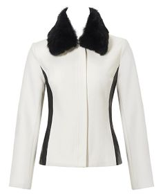 White & Black Faux Fur Collar Wool-Blend Jacket