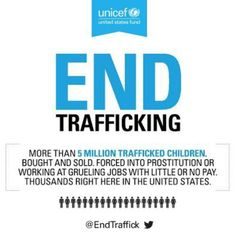 It is estimated that 5.5 million children are trafficked globally every year. Child trafficking is a human rights violation and a crime. At least 10 children are trafficked every week in the UK – facing violence, exploitation and abuse.    We have the power to stop this.   Sign the Campaign: http://www.unicef.org.uk/UNICEFs-Work/Our-campaigns/Stop-child-trafficking/
