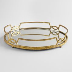 Gold Mirrored Tabletop Tray - Metal by World Market Bar Cart Styling, Mirror Tray, Coffee Table Tray, Bar Tray, Round Tray, Gold Table, Bar Accessories, Kitchen Accessories, World Market