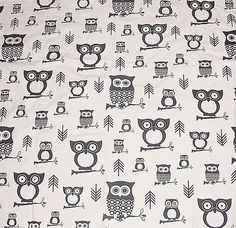 Black and White HOOTIE OWLS Premier Print Fabric Home Decor,Crafts,Apron,Tote Bag Use 57 inches Wide x 1 YARD