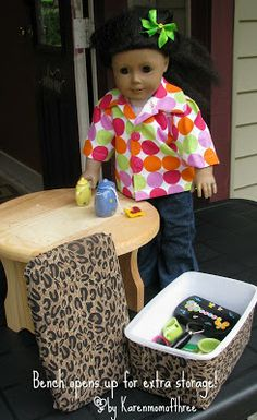 American Girl bench with storage made out of a diaper wipe container, fabric & glue!