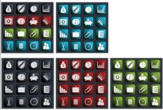 business icons pack in four color