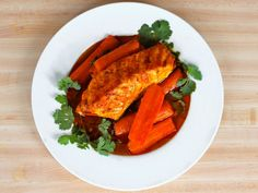 Recipe for Smoked Paprika Fish with Carrots - a tasty, heart healthy variation on Moroccan fish. Kosher, Pareve, Gluten Free.