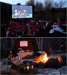fire pits, birthday parties, camping theme, movie themes, camping birthday, backyard, camp party, movie nights, parti idea
