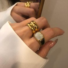 Chunky Rings, Chunky Jewelry, 18k Gold Jewelry, Cigar Band, Wide Band Rings, Gold Accessories, Color Ring, Shell, Plaque